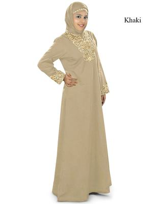 MyBatua Khaki Cotton Islamic Wear for Women Arabian Style Muslim Abaya With Hijab