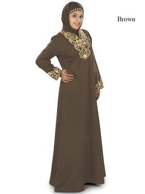 MyBatua Brown Cotton Islamic Wear for Women Arabian Style Muslim Abaya With Hijab