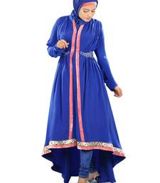 MyBatua Royal Blue Poly Crepe Islamic Wear For Women Arabian Style Muslim Abaya With Hijab