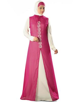 MyBatua Magenta Polyester Islamic Wear For Women Arabian Style Muslim Abaya With Hijab