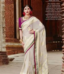Buy white embroidered crepe  saree with blouse crepe-saree online