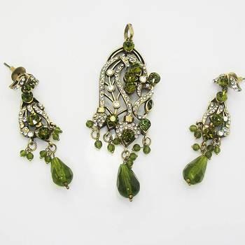 Victorian Designer Pendant Set Vibrant Green