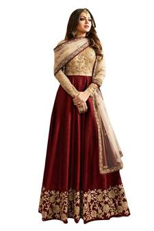 db62e5c68 Maroon embroidered silk And net Anarkali Suit