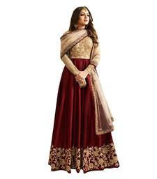 Maroon embroidered silk And net Anarkali Suit