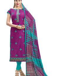 Buy Purple embroidered chanderi salwar dress-material online
