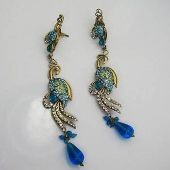 Victorian Slim Peacock Earring Ocean Blues