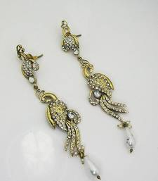 Buy Victorian Slim Peacock Earring Pearl White danglers-drop online
