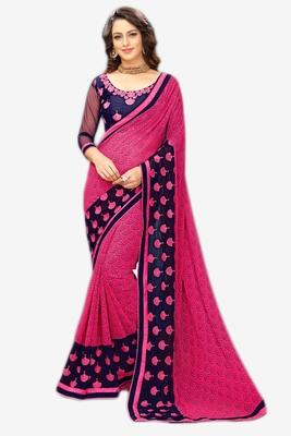 Dark pink printed georgette saree with blouse