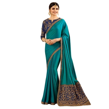 Blue embroidered faux silk saree with blouse