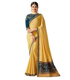 Buy Yellow embroidered faux silk saree with blouse kota-silk-saree online