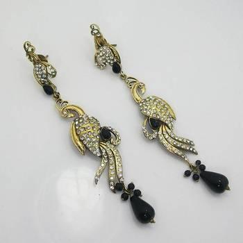 Victorian Slim Peacock Earring Black