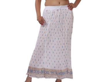 White Cotton Crinkled Long Skirt