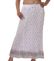 Buy White Cotton Crinkled Long Skirt skirt online