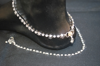 Diamond artificial studded silver payal anklets fashions jewellery