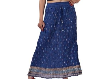 Blue Cotton Crinkled Long Skirt