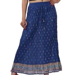 Buy Blue Cotton Crinkled Long Skirt navratri-skirt online