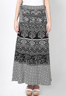 Black n White Jaipuri Printed Cotton Wrap Skirt