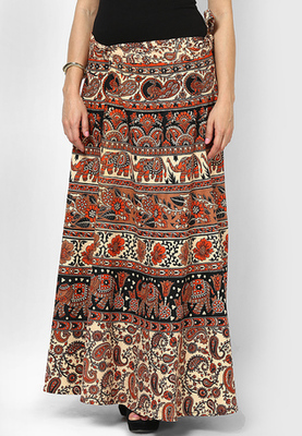 Beige Jaipuri Printed Cotton Wrap Skirt