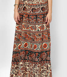Buy Beige Jaipuri Printed Cotton Wrap Skirt plus-size-skirt online