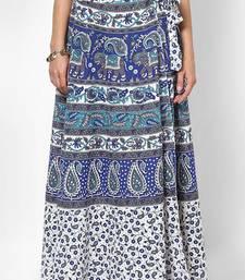 Buy White Jaipuri Printed Cotton Wrap Skirt cotton-skirt online