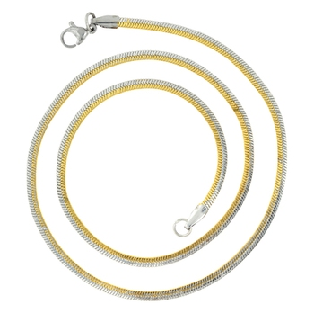 Two Tone Snake 18K Gold Rhodium Plated Silver Stainless Steel Necklace Chain Women Unisex