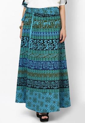 Turquoise Jaipuri Printed Cotton Wrap Skirt