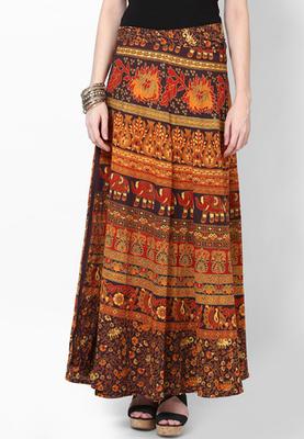 Multicolor Jaipuri Printed Cotton Wrap Skirt