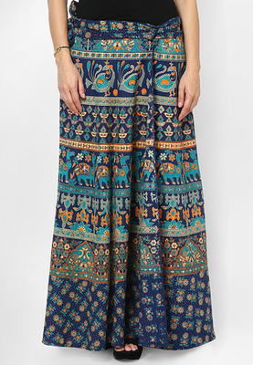 Navy Blue Jaipuri Printed Cotton Wrap Skirt