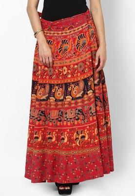 Red Jaipuri Printed Cotton Wrap Skirt