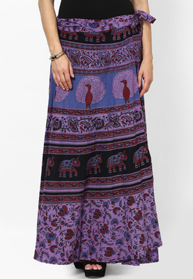 Purple Jaipuri Printed Cotton Wrap Skirt