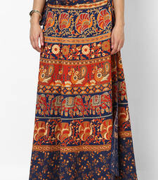 Navy Blue Jaipuri Printed Cotton Wrap Skirt