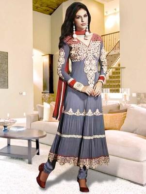 Grey georgette embroidered anarkali semi stitched salwar with dupatta