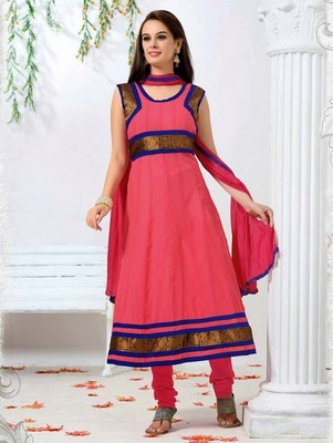 Pink georgette embroidered anarkali semi stitched salwar with dupatta