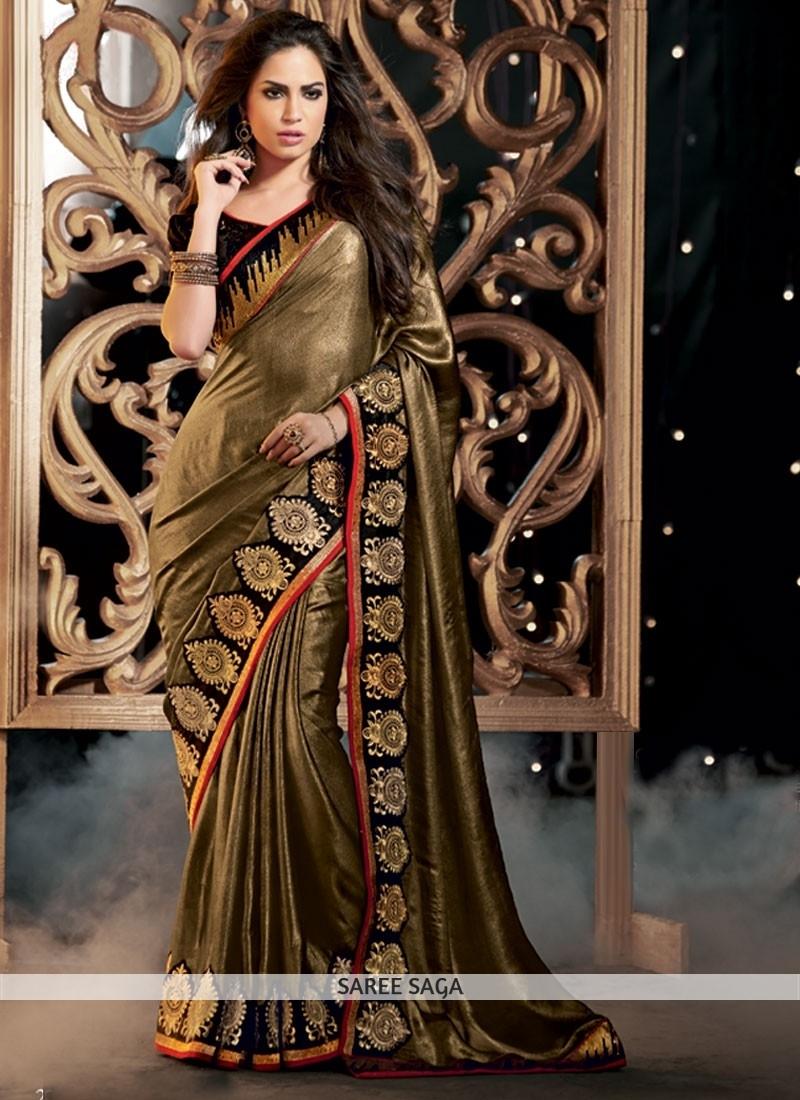 f709453fb55bf tobeco golden plain georgette celebrity saree with blouse - Manjula Feb -  344055