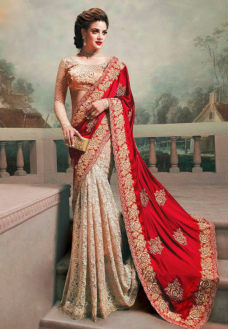 e09af22c498aa red and chiku silk georgette and rassal net m n designer bollywood saree  with blouse ...