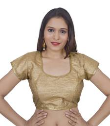 Gold art silk Self Design stitched blouse