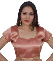 Pink art silk Self Design stitched blouse