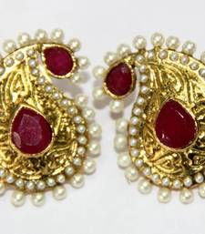 Buy ANTIQUE GOLD PLATED RED N WHITE PEARLS TOPS danglers-drop online