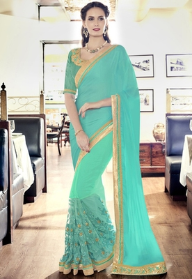 Cyan  embroidered Satin Chiffon And Net Georgette saree with blouse