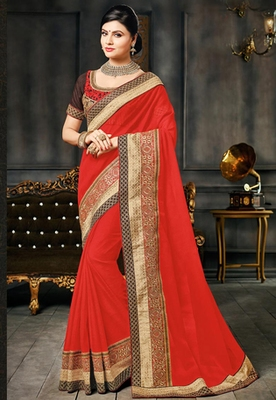 Red embroidered Georgette Chiffon saree with blouse