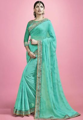 Sea Green embroidered Bamber Georgette saree with blouse