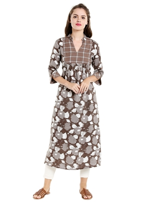 Beige  cotton long kurtis