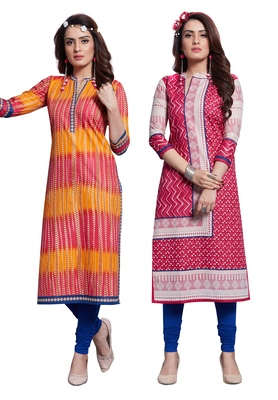 Multicolor Printed Cotton Unstitched Combo Kurti