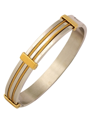 Rope Border 18K Gold Silver 316L Surgical Stainless Steel Openable Kada Bangle Bracelet Men