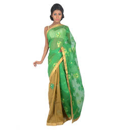 Buy BROWN and GREEN woven jute-cotton fancy saree with blouse jute-saree online