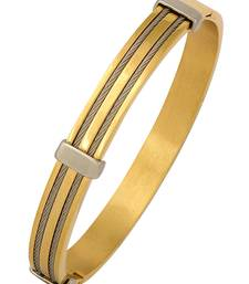 ope Border 18K Gold Silver 316L Surgical Stainless Steel Gold Silver Openable Kada Bangle Bracelet Men