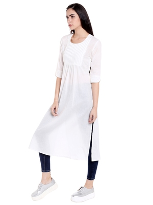 White  cotton long kurtis