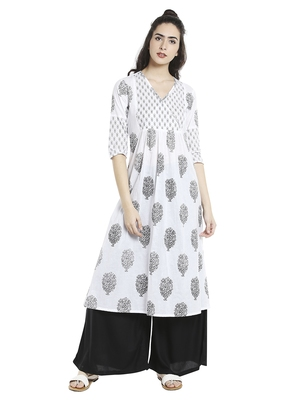 White  cotton long kurtis