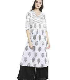 Buy White  cotton long kurtis plus-size-kurtis online