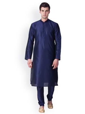 Deep Blue Solid  Art Silk  Designer Men's Kurta Pyjama